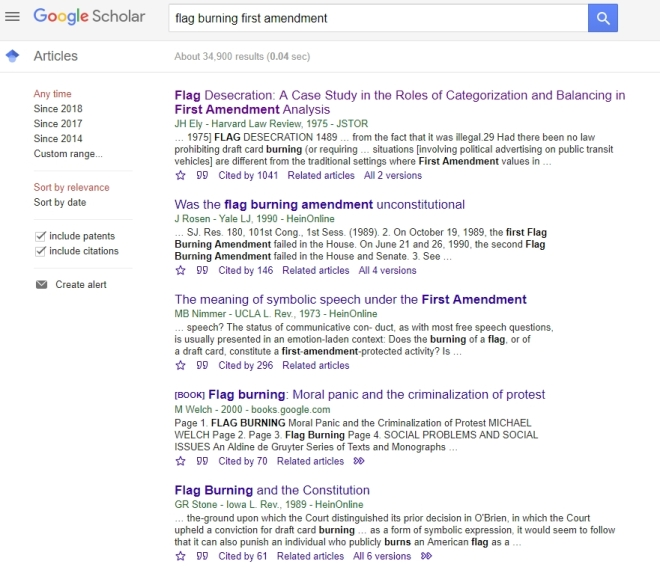 Google Flag Burning 1st Amendment